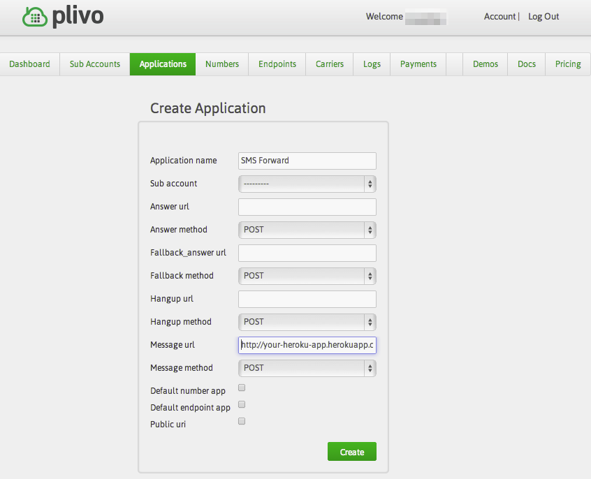 Create your Application and fill in credentials