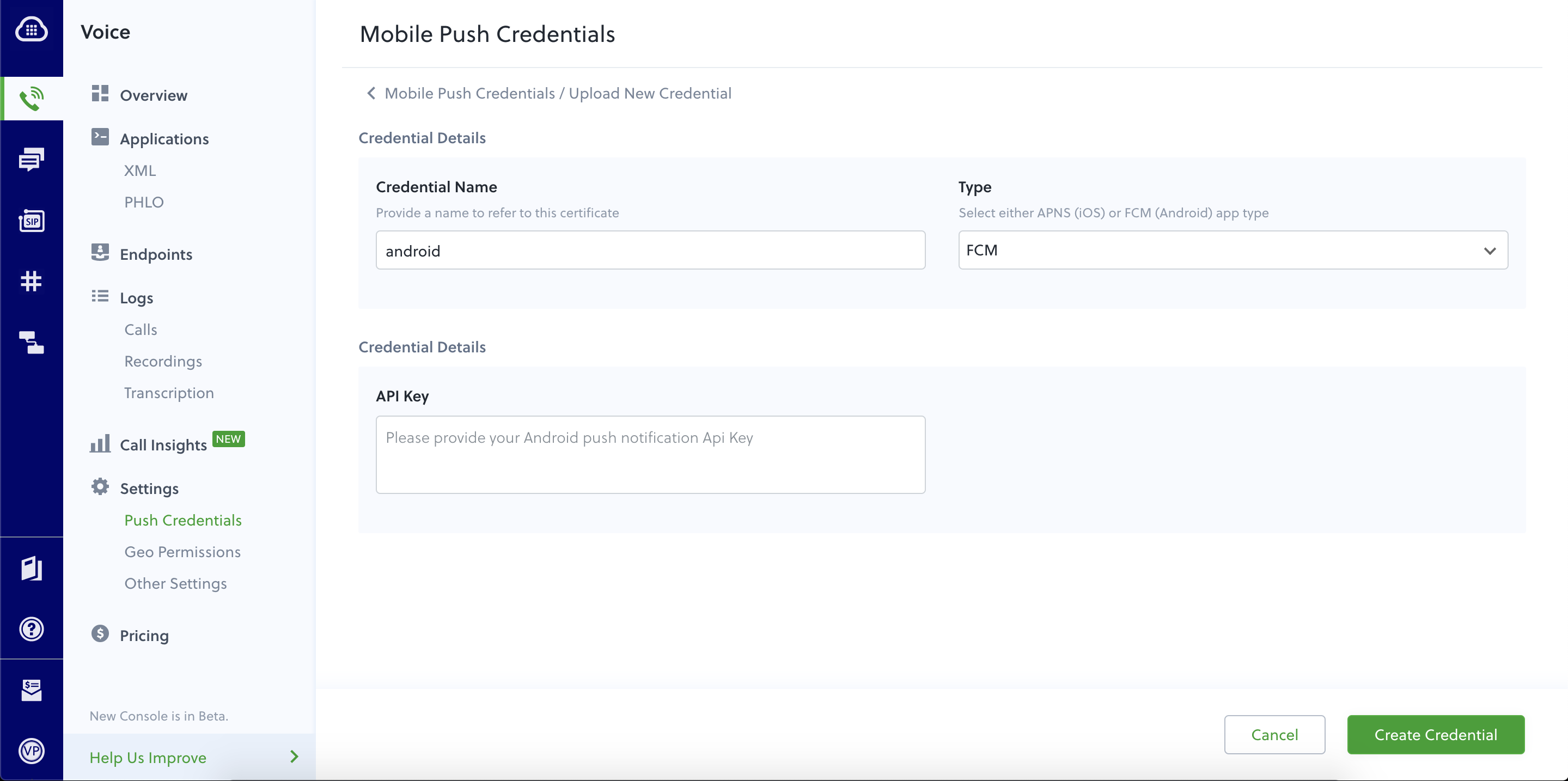 Adding Android Push Credential